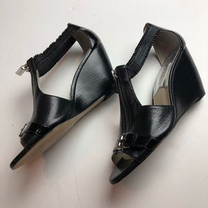 Michael Kors Size 6.5 Black Wedges Peep Toe Zips